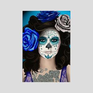 Blue Rose Muertos Pin-up Portrait Rectangle Magnet
