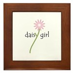 Pink Daisy Girl Framed Tile