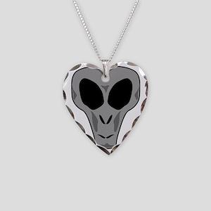 alien head Necklace Heart Charm