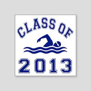 "Class Of 2013 Swimming Square Sticker 3"" x 3"""
