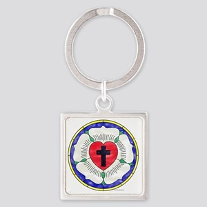 Luther Seal Stained Glass Motif Square Keychain