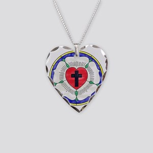 Luther Seal Stained Glass Mot Necklace Heart Charm