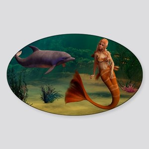 Mermaid and Dolphin Sticker (Oval)