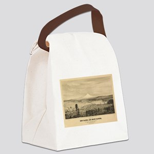 Vintage Pictorial Map of Tacoma W Canvas Lunch Bag