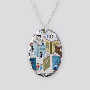 1957 Childrens Book Week Necklace Oval Charm