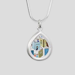 1957 Childrens Book Week Silver Teardrop Necklace
