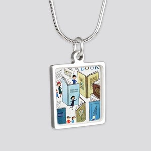1957 Childrens Book Week Silver Square Necklace