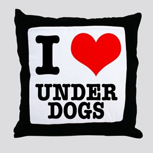 I Heart (Love) Under Dogs Throw Pillow