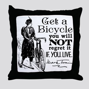 Twain Get A Bicycle Quote Throw Pillow