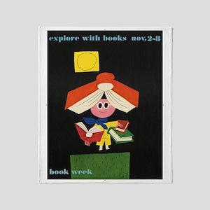 1958 Childrens Book Week Throw Blanket