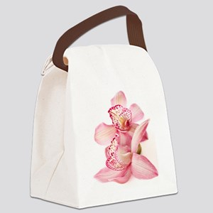 two pink orchids on white Canvas Lunch Bag