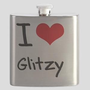 I Love Glitzy Flask