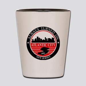 Atlantic City logo black and red Shot Glass