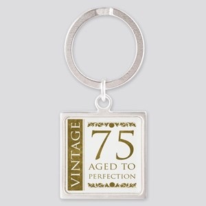 Fancy Vintage 75th Birthday Square Keychain