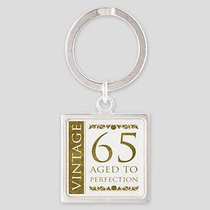 Fancy Vintage 65th Birthday Square Keychain