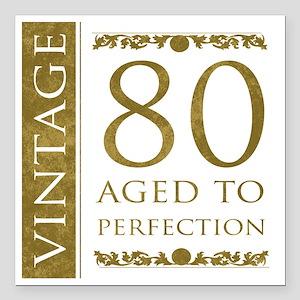 "Fancy Vintage 80th Birth Square Car Magnet 3"" x 3"""