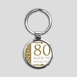 Fancy Vintage 80th Birthday Round Keychain
