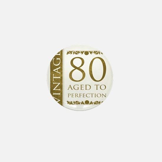 Fancy Vintage 80th Birthday Mini Button