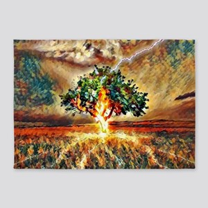 Lightening Crashes into a Tree 5'x7'Area Rug