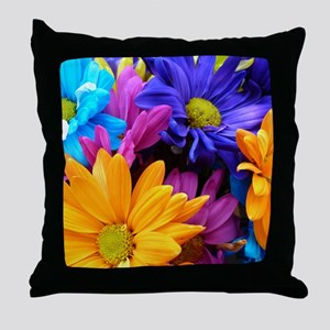 Vibrant Neon Gerbera Daisies Throw Pillow
