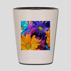 Vibrant Neon Gerbera Daisies Shot Glass