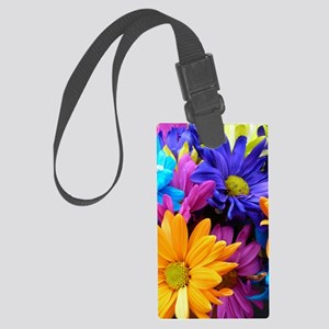 Vibrant Neon Gerbera Daisies Large Luggage Tag
