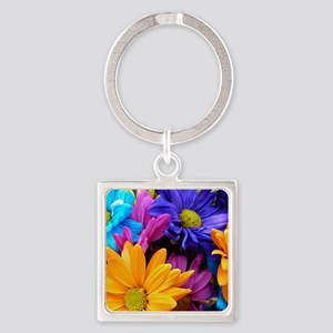 Vibrant Neon Gerbera Daisies Square Keychain