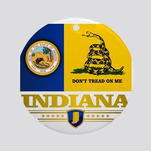 Indiana Gadsden Flag Round Ornament
