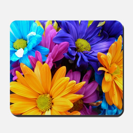 Colorful Neon Flowers Mousepad