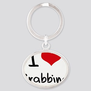 I Love Grabbing Oval Keychain