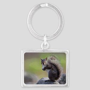Gray Squirrel Landscape Keychain