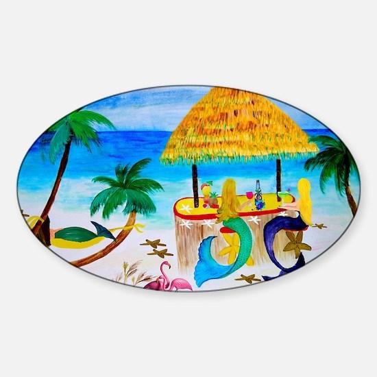 Mermaids Tiki Bar Sticker (Oval)