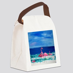 Plastic Pink Flamingos on the Bea Canvas Lunch Bag