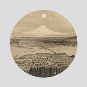 Vintage Pictorial Map of Tacoma Was Round Ornament