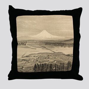 Vintage Pictorial Map of Tacoma Washi Throw Pillow