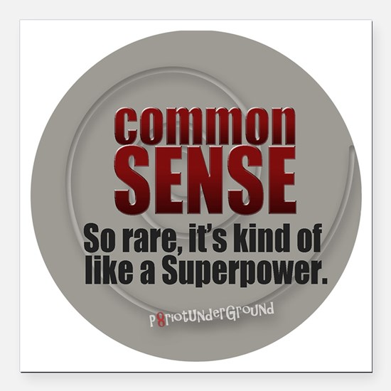 "Common Sense Square Car Magnet 3"" x 3"""