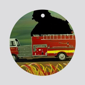 Firefighter Poster Print Round Ornament