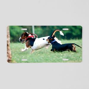 Dachshund chasing Basset Ho Aluminum License Plate