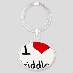 I Love Griddles Oval Keychain