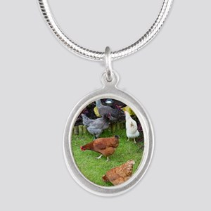 Hen Silver Oval Necklace
