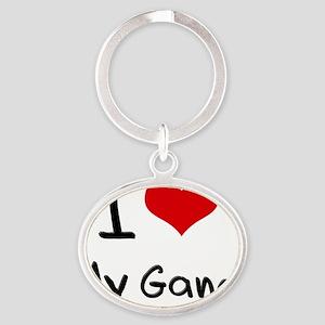 I Love My Gang Oval Keychain