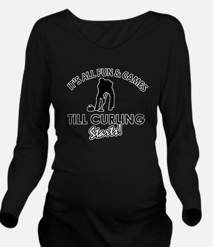 curling gift designs Long Sleeve Maternity T-Shirt