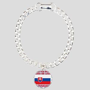 Slovakian flag designs Charm Bracelet, One Charm