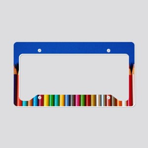 Colorful pencil crayons on bl License Plate Holder