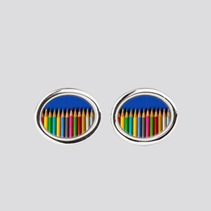 Colorful pencil crayons on blue backgrou Cufflinks