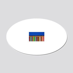 Colorful pencil crayons on b 20x12 Oval Wall Decal