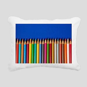 Colorful pencil crayons  Rectangular Canvas Pillow
