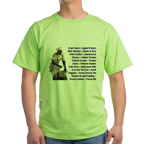 Soul Food Menu Green T-Shirt