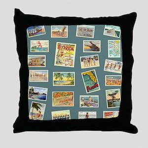 Vintage Florida Postcards Throw Pillow