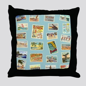 Vintage Florida Postcards Throw Pillow